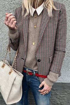 Trench Check Coat Stylish Plaid Long-Sleeve Suit , I love this Blazer Outfits, Stylish Outfits, Fall Outfits, Fashion Outfits, Womens Fashion, Fashion Trends, Casual Blazer, Stylish Clothes, Basic Clothes