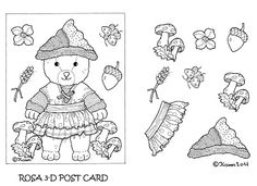 Karens Kravlenisser. Cut-outs and Colouring Pages. : Christmas Bear and Doll 3D Postcards to Colour. Jule bamse og dukke 3D postkort til at farvelægge.