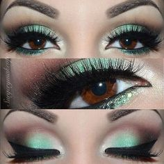 Mint and brown eyeshadow