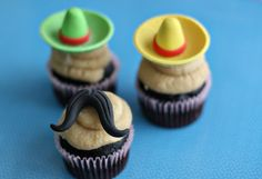 Mustache and Sombrero Fondant Toppers for Cupcakes Perfect for Birthday, Celebration and Cinco De Mayo Parties