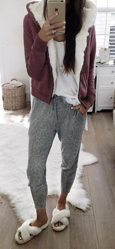#winter #outfits maroon and white coat and grey pants