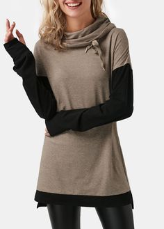Glove Sleeve Cowl Neck Patchwork Light Coffee T Shirt on sale only US$32.06 now, buy cheap Glove Sleeve Cowl Neck Patchwork Light Coffee T Shirt at liligal.com