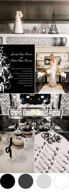 classic black and white wedding color ideas and wedding invitations
