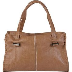Brinley Co Women's Faux Leather Topstitched Double Handle Bag