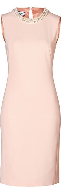 fv. Moschino ● Pink Sheath Dress with Pearl Collar Will go perfectly with my navy blazer.