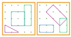 Géoplan 24 fiches niveau 3 (3 figures à placer, en fin de série les figures ont des côtés communs)