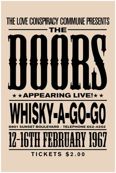The Doors concert poster The Doors art print music inspired print concert print … The Doors Konzertposter The Doors Kunstdruck Musik inspiriert drucken Konzert drucken Whisky A Go Go The D Whisky A Go Go, Rock Band Posters, Mundo Musical, Vintage Concert Posters, The Doors, Poster Art, Poster Ideas, Typography Poster, Pochette Album