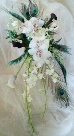 Cymbidium and dendrobium orchid cascade bouquet