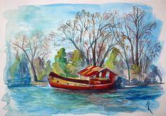 titulo: Barco abandonado en el Delta del Tigre.  acuarela sobre papel