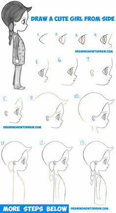 How to draw a cute chibi / manga / anime girl from side view Easy Step by S . How to draw a cute chibi / manga / anime girl from the side view Easy Step by St… - architecture and art The Effective Pictures We Offer You About Architecture drawing begin Drawing Lessons, Drawing Techniques, Art Lessons, Chibi Manga, Chica Anime Manga, Anime Art, Step By Step Sketches, Step By Step Drawing, Manga Drawing