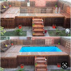 30 Most Inspiring DIY Pallet Swimming Pool Ideas The latest sunmmer trend this year goes to pallet swimming pool! Surprisingly, you can make one by yourself at home easily and cheaply! Pallet Pool, Pallet Barn, Pallet Decking, Pallet Fence, Diy Swimming Pool, Diy Pool, Swimming Pool Designs, Piscina Pallet, Piscina Diy