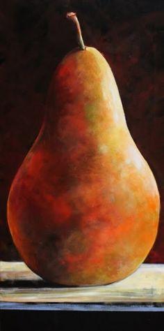 Jan 4 Large Single Pear Original Art Painting Still Life 18x36, painting by artist Toni Grote