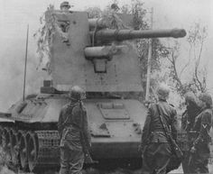 Captured Russian T-34 fitted with German FlaK-88mm gun.