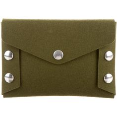 Mulberry Felt Clutch ($95) ❤ liked on Polyvore featuring bags, handbags, clutches, green, studded handbags, man bag, brown purse, brown handbags and handbags purses