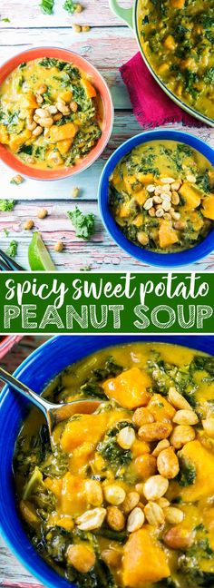Vegan Sweet Potato Peanut Soup: spicy gluten free and vegan soup, combining West African peanut soup with southeastern Asian flavors. Full of sweet potatoes, peanuts, spicy peppers, and kale. {Bunsen Burner Bakery} #soup #vegan #glutenfree via @bnsnbrnrbakery
