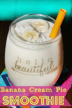 Banana Cream Pie Smoothie- with just four ingredients this hearty smoothie can be made in seconds!