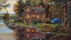 Cabin On Lake ~ by Kim Norlien