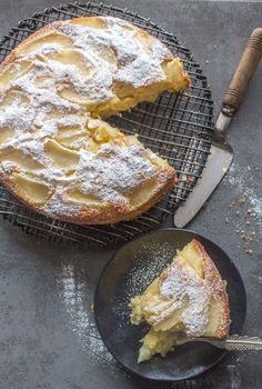 Easy Italian Pear Cake, a delicious moist cake made with fresh pears and mascarpone. A perfect breakfast, snack or anytime cake recipe.