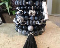 Black Tassel Bracelet Set