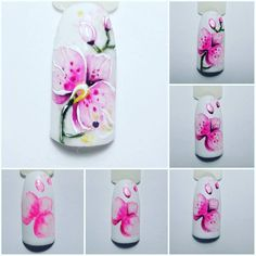 Heat Up Your Life with Some Stunning Summer Nail Art Nail Art Flower, Flower Nail Designs, Floral Nail Art, Nail Art Designs, Nails Design, Nail Manicure, Diy Nails, Spring Nails, Summer Nails