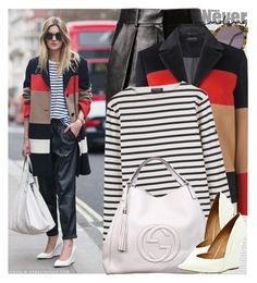 """Street Style: London"" by nastyaafanasova ❤ liked on Polyvore featuring Oris, Karen Walker, Alexander Wang, Jaeger, Saint James, Gucci, River Island, women's clothing, women's fashion and women"