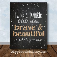 Twinkle Twinkle Nursery Decor, Twinkle Twinkle Little Star Chalkboard Sign with Gold Glitter, Printable and Customizable by WiggleWords
