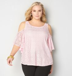 Shop tops with lace detail like our plus size Lace Cold Shoulder Top available in sizes 14-32 online at avenue.com. Avenue Store