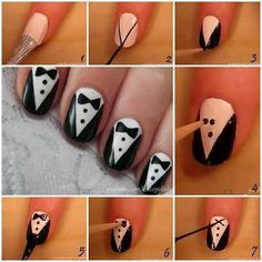 DIY Tuxedo Nails - luv this idea! Super cool! Going to try these sometime!