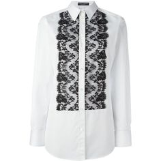 Dolce & Gabbana lace bib shirt ($945) ❤ liked on Polyvore featuring tops, black, long sleeve shirts, embellished tops, button front shirt, long sleeve lace shirt and holiday tops