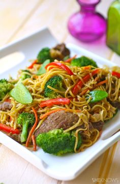 Colorful & flavorful Sunday dinner: Beef Chow Mein