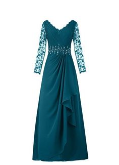 Sunvary Chiffon and Lace Long Sleeves Mother of the Bride Dresses US Size 2- Dark Teal Sunvary http://www.amazon.com/dp/B011TZC7IW/ref=cm_sw_r_pi_dp_-XhPwb1M2T9KP