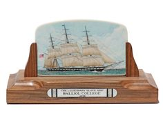 """""""The Legendary Slave Ship: Balliol College 1849"""" Color scrimshaw on ancient mammoth ivory by Joel Cowan. Long recognized as the most precise ship scrimshander ever, Cowan's work continues to impress everyone. His stipple work is in a class by itself. As far as his lettering, no one comes close. Cowan works directly from the actual plans of the ship and is completely accurate in his depiction. Size: 6 1/2""""L X 3""""D X 3 1/2""""H Price: $3,600.00 -- on ScrimshawGallery.com #scrimshaw"""