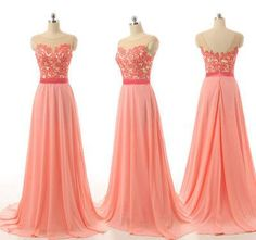 Peach bridesmaid dresses, lace bridesmaid dresses, custom bridesmaid dresses, cheap bridesmaid dresses, chiffon bridesmaid dress