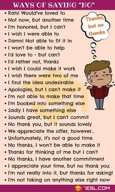 NO Synonym: 55 Alternative Ways To Say NO to People - 7 E S L