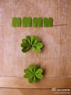 Glücks-Kleeblätter selber basteln Faites vos propres trèfles porte-bonheur Crafts Home Felt Crafts, Fabric Crafts, Sewing Crafts, Diy And Crafts, Crafts For Kids, Arts And Crafts, Felt Diy, Ribbon Crafts, Felt Flowers