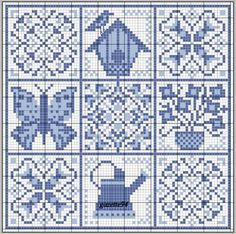 Mosaic tile pattern, perhaps. Each block could be used for stepping stone. I like the monochromatic look. Cross Stitch Samplers, Counted Cross Stitch Patterns, Cross Stitch Charts, Cross Stitch Designs, Cross Stitching, Cross Stitch Embroidery, Embroidery Patterns, Delft, Blackwork