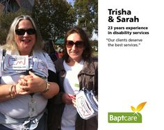 """Baptcare staff share why a National Disability Insurance Scheme is important to them. #NDIS    Trisha & Sarah (23 years experience  in disability services)  """"Our clients deserve the best services."""""""