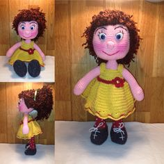 Crochet Fürtöske doll, 40 cms tall, in yellow crochet dress with a small claret flower. In the doll's hair there is a green ribbon.