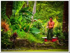 Outdoor showering in Apia, Samoa