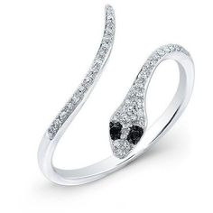 14KT White Gold Diamond Slytherin Ring with Black Diamond Eyes (8.267.410 IDR) ❤ liked on Polyvore featuring jewelry, rings, white gold snake ring, white gold black diamond ring, white gold diamond rings, diamond jewelry and white gold rings