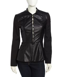 Flared Faux-Leather Paneled Jacket, Black by Romeo & Juliet Couture at Neiman Marcus Last Call.