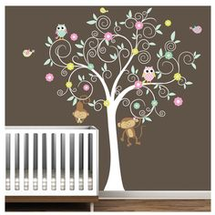 wall decal-tree w/monkeys, owls, and birds
