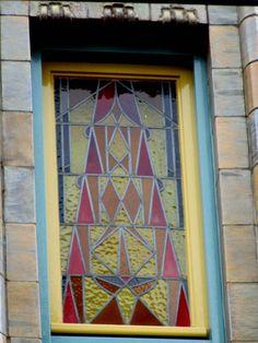 stained glass window - Tuschinski, an Amsterdam School, Jugendstil, Art Nouveau and Art Deco movie theater (1921), Reguliersbreestraat, Amsterdam, the Netherlands