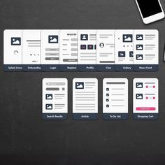 Mobile UX flowchart cards.