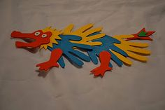 Hand Print dragon craft for CNY