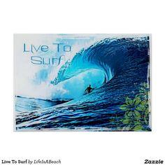 Leef om te surf poster