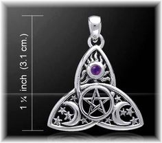 Silver CELTIC TRIQUETRA Amethyst Pentacle Tri Moon PENDANT Wicca Pagan Jewelry