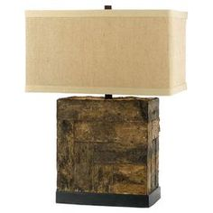 Handcrafted wood table lamp with a box shade.    Product: Table lamp    Construction Material: Wood and metal    Color: Dark brown and natural   Features: Handcrafted    Accommodates: (1) 100 Watt Edison base bulb - not included     Dimensions: 26.25 H x 18 W