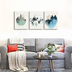 Abstract Mountain in Daytime Canvas Prints Wall Art Paintings Abstract Geometry Wall Artworks Pictures for Living Room Bedroom Decoration, inch/piece, 3 Panels Home bathroom Wall decor posters: Posters & Prints Abstract Canvas Wall Art, Wall Canvas, Bathroom Wall Decor, Home Wall Decor, Living Room Bedroom, Bedroom Decor, Wall Art Prints, Canvas Prints, Mountain Paintings