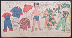 """This one is of a little boy named Teddy going fishing. These paper doll sections usually measured around 14"""" x 8 1/2"""". This one is dated 1953 and is in good condition with just the date written on it at the bottom and A couple light folds. 